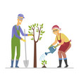 senior people planting a tree - flat design style vector image vector image