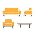 set of sofa and armchair vector image vector image