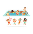 small children having fun in water of the pool vector image vector image