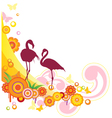 summer background with flamingo and flowers vector image vector image