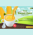 sweet corn soup in a bowl realistic vector image vector image