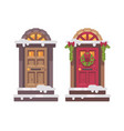 two winter doors christmas decorated porch vector image