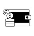 wallet money dollar euro coins vector image vector image