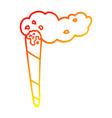 warm gradient line drawing cartoon marijuana joint vector image vector image