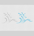 water and drop icon - blue wave and water splashe vector image vector image