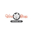 wine shop logo template concept grape leaf in vector image