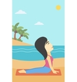 Woman practicing yoga upward dog pose on beach vector image vector image
