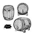 wooden barrel Hand drawn vintage vector image vector image