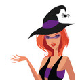 young redheaded adorable witch in hat with spider vector image