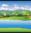 snow mountain with pine tree in front of the river vector image