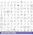 100 history icons set outline style vector image vector image