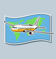 airplane flying across world map vector image