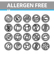 allergen free products thin line icons set vector image