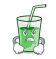 angry green smoothie mascot cartoon vector image vector image