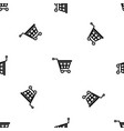 basket on wheels pattern seamless black vector image vector image