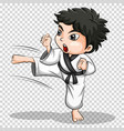 boy doing karate on transparent background vector image vector image