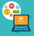 buy on line with laptop computer vector image