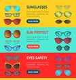 cartoon glasses and sunglasses banner horizontal vector image vector image