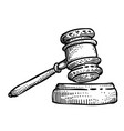 cartoon image of law icon judge gavel symbol vector image