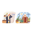 cartoon mature woman looking on reminder sticker vector image
