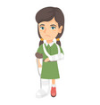 caucasian sad injured girl with broken arm and leg vector image vector image