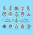 christmas icons set new year symbols chinese vector image vector image