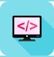 coding on screen flat long shadow icon vector image vector image