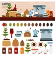 Coffee shop with different kinds of coffee on the vector image