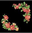 corner frame decorative element with pomegranate vector image