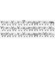 cute cows in rows doodle set vector image vector image
