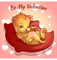 Cute ginger kitten on a red cushion vector image vector image
