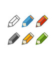 different color crayons set isolated on white vector image vector image