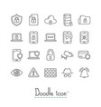 doodle security icons vector image vector image