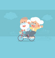 elderly couple riding vintage bicycle vector image
