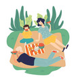 family on picnic on weekends summer activities vector image