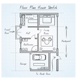 Floor plan house sketch vector image vector image