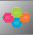 four pieces steps puzzle a hexagon infographic vector image vector image