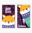 fox with scarf and sweater merry christmas cards vector image
