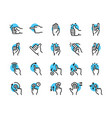gesture color linear icon set editable stroke vector image