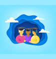 group young students with graduation cap vector image