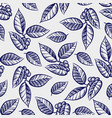 hand drawn leaves with berries seamless pattern vector image vector image