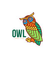 hand drawn stylized owl bird icon vector image vector image
