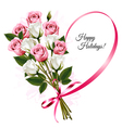Happy Holidays ribbon heart shape with rose vector image vector image