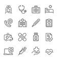 healthcare industry medicine linear icons vector image vector image
