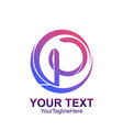 initial letter p logo template colorful circle vector image vector image