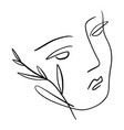 line art woman self love and care concept vector image vector image
