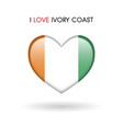love ivory coast symbol flag heart glossy icon on vector image