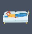 man with headache on sofa on dark vector image