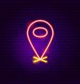 navigation pin neon sign vector image