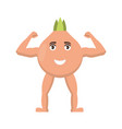 onion strong icon vegetable with happy face vector image vector image